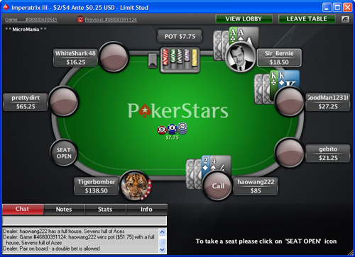 7 Card Stud at PokerStars